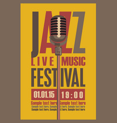 retro poster for the jazz festival with microphone vector image vector image