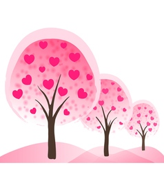 trees with hearts as flowers vector image vector image
