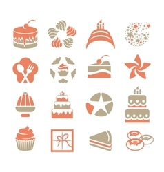 Cakes logo set in vintage style pink and grey vector