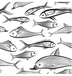 fish seamless pattern seafood background swimming vector image vector image