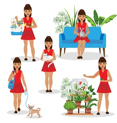 girl with pets vector image