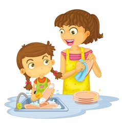 Girls washing plates vector image vector image