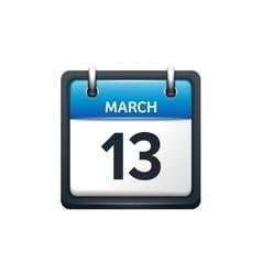 March 13 calendar icon flat vector