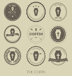 The vintage style of coffin business logo vector image vector image