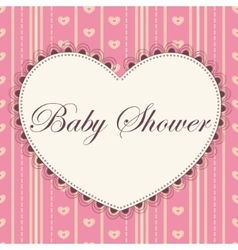 Baby shower with heart pink vintage vector image vector image