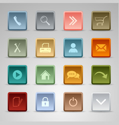 Colored set web square buttons template vector image vector image