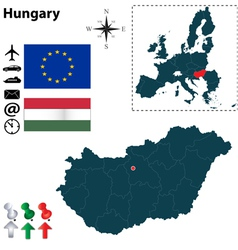 Hungary and European Union map vector image vector image
