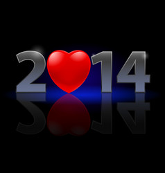 New year 2014 metal numerals with red heart vector