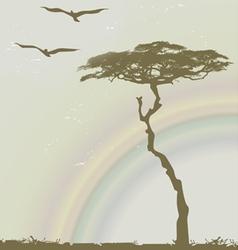 Tree birds rainbow vector