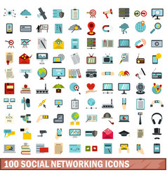 100 social networking icons set flat style vector