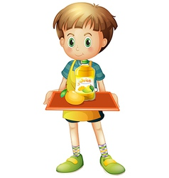 A boy holding a tray with mango juice vector image