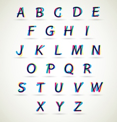 Alphabet set with CMYK color vector image