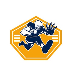 American football running back stiff arm vector