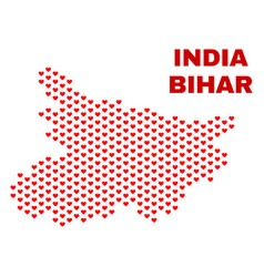 bihar state map - mosaic of love hearts vector image