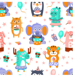 birthday pattern cute animals with cakes and vector image