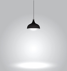 Black ceiling lamp on gray background vector