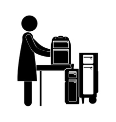 Black silhouette woman with baggage vector