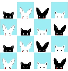 Blue White Pink Cat Rabbit Chess board vector image
