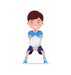 boy volleyball player beat ball with his hands vector image