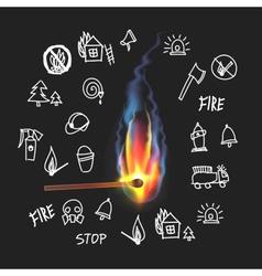 Burning match on a black background Fire Set vector