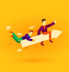 business team ride arrow concept business success vector image