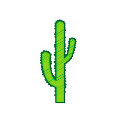 Cactus simple sign lemon scribble icon on vector