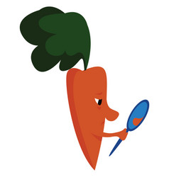 carrot holding mirror on white background vector image