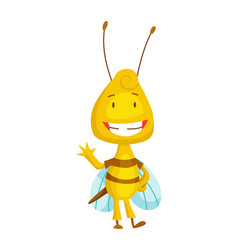 Cartoon bee insect character happy fly vector