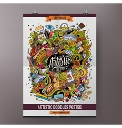 Cartoon doodles Art poster template vector image