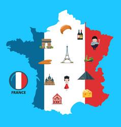 Cartoon france sights on france map vector