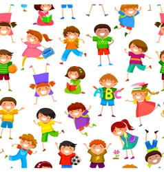 cartoon kids pattern vector image