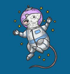 Cartoon mouse astronaut sketch engraving vector