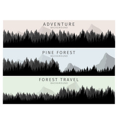 cartoon silhouette pine forest vector image