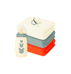 Cartoon towels baby bottle and pacifier vector
