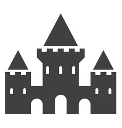 castle black icon fortress with towers silhouette vector image