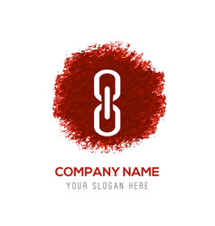 Chain or link icon - red watercolor circle splash vector