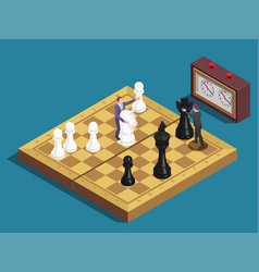 Chessboard isometric composition vector