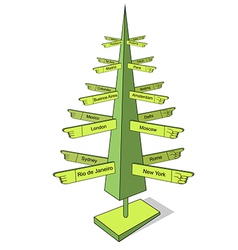 Christmas and travel tree vector