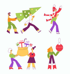 christmas new year holiday characters set vector image