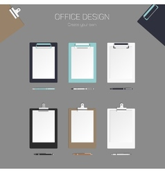 clipboard with paper and pen set for vector image