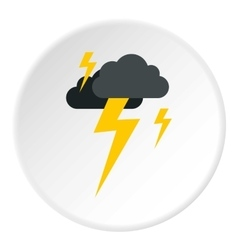 Clouds and lightning icon flat style vector