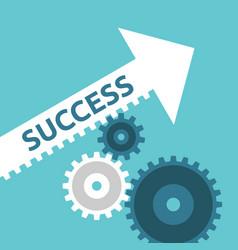 cogs moving success arrow vector image