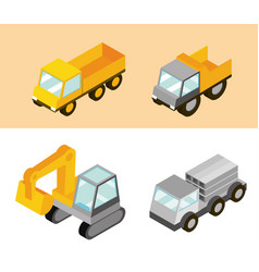 construction trucks machine transport and work vector image