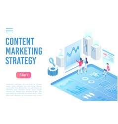 Content marketing strategy landing page isometric vector