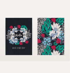 cover design with floral pattern hand drawn vector image