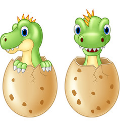 cute baby dinosaur hatching vector image