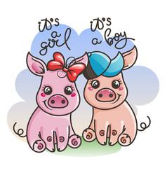 Cute cartoon baby pigs vector