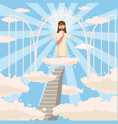 Cute god smiles with love with open arms the road vector
