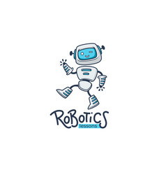 cute little robot for your robotic lessons and vector image