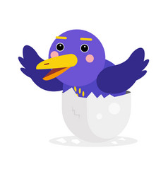 cute newborn blue bird character funny chick in vector image